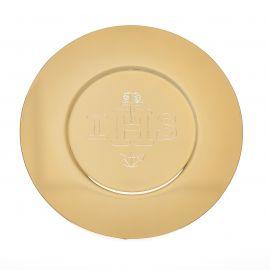Patena wyprofilowana, złocona z napisem IHS śr. 16,5 cm