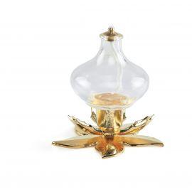 Lampka oliwna szklana z podstawą kwiat (5)