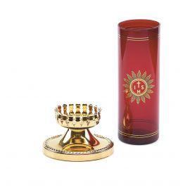 Lampka wieczna oliwna z wkładem i dekorowaną podstawą (2)