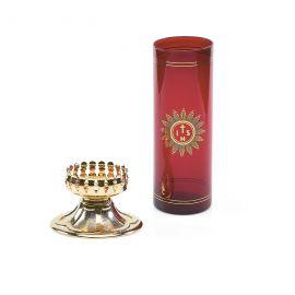 Lampka wieczna oliwna z wkładem i dekorowaną podstawą (3)