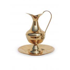 Dzbanek z misą, polerowany, złocony - 19 cm (2)