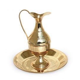 Dzbanek z misą, polerowany, złocony - 23 cm (3)