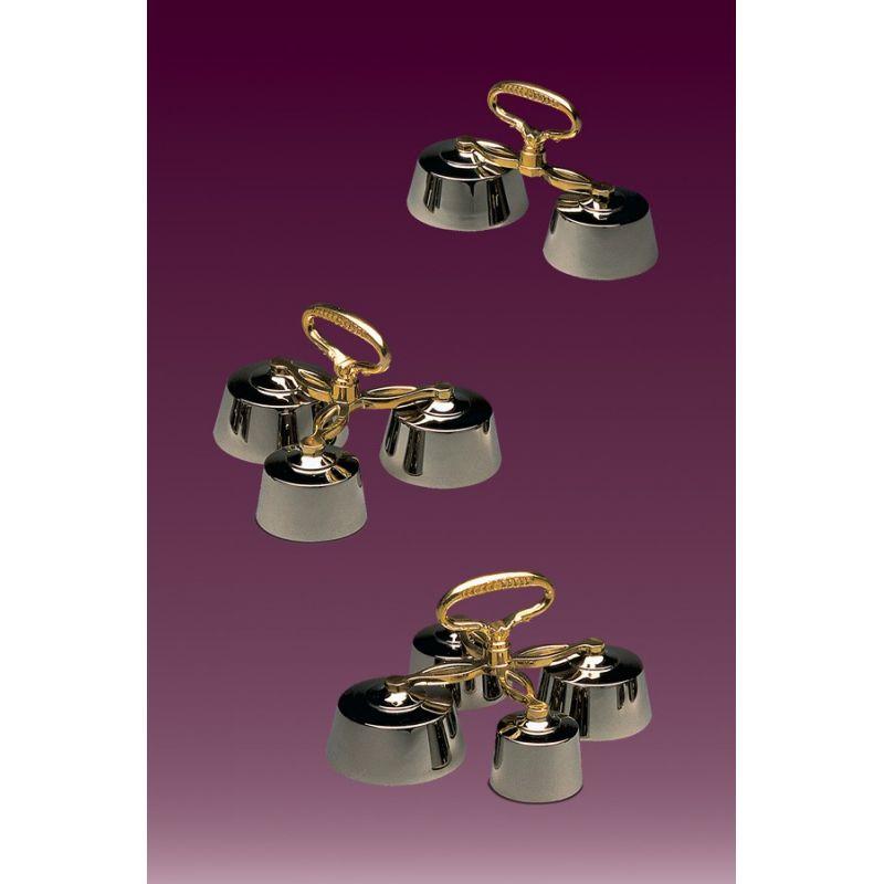 Dzwonek poczwórny, rączka złota, szalki niklowane