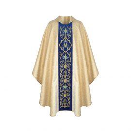 Ornat haftowany Maryjny złoty, pas niebieski (33)