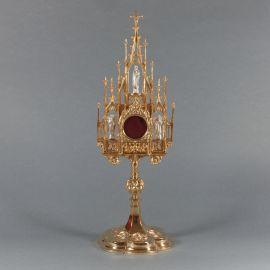Relikwiarz gotycki złocony