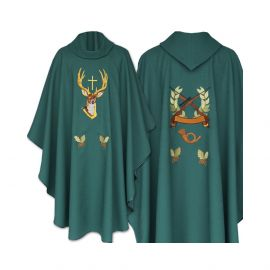 Ornat haftowany zielony Święty Hubert