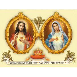 Obraz 30x40 - Serce Jezusa, serce Maryi