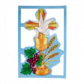Emblemat metalizowany na Boże Ciało 35x50 cm - wzór eucharystyczny (11)