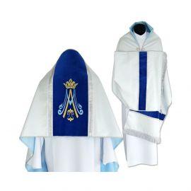 Welon liturgiczny srebrny brokat - pasy aksamitne