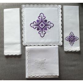 Bielizna kielichowa fioletowy krzyż - haft (2)