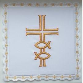 Palka biała haftowana Krzyż ryby (1)