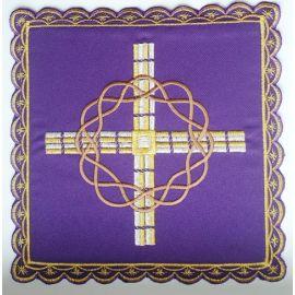 Palka haftowana krzyż, korona cierniowa - fiolet