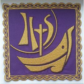 Palka haftowana Ihs, łódź - fiolet