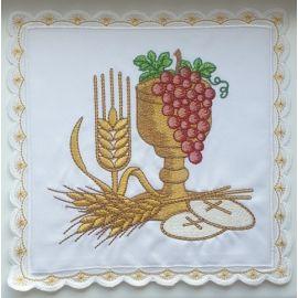 Palka biała bogato haftowana - Kielich, winogrona, kłosy