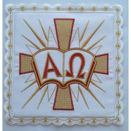 Palka haftowana biała Alfa i Omega (3)