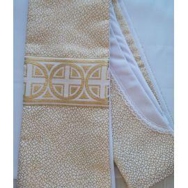 Stuła kapłańska ecru w złote wzory nr 25