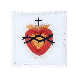 Palka biała haftowana Serce w koronie