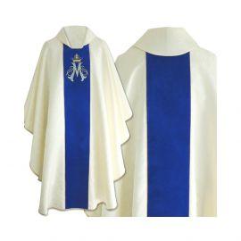 Ornat gotycki haftowany, aksamitny pas, wzór Maryjny (04)
