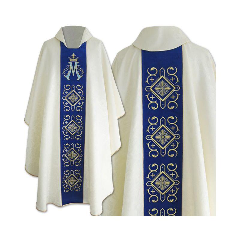 Ornat gotycki haftowany, aksamitny pas, wzór Maryjny (05)