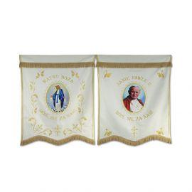 Chorągiew haftowana kościelna Jan Paweł II+ MB Różańcowa