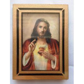 Mały drewniany obrazek Serce Pana Jezusa