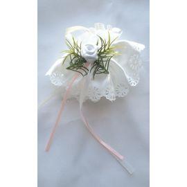 Ozdoba z dodatkiem różu do świecy -  satynowo - tiulowa (2)