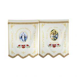 Chorągiew drukowana (Matka Boża, Św. Józef) + haftowane napisy, ornamenty