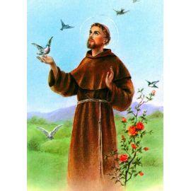 Święty Franciszek - Ikona dwustronna z modlitwą format A5