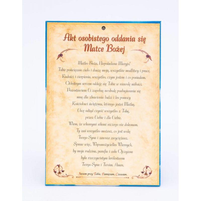 Matka Boża Wspomożycielka Wiernych - Ikona dwustronna z modlitwą format A5  - Sklep internetowy z dewocjonaliami