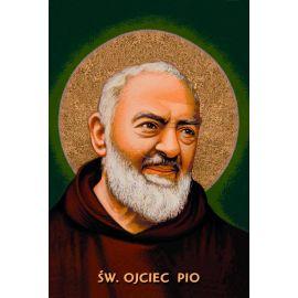 Święty Ojciec Pio - Ikona dwustronna z modlitwą A5