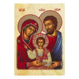 Święta Rodzina - Ikona dwustronna z modlitwą format A5 (brokat)