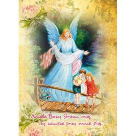 Anioł Stróż - Ikona dwustronna z modlitwą format A5 (Brokat)