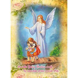 Anioł Stróż - Ikona dwustronna z modlitwą format A5 (Brokat 2)