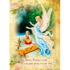 Anioł Stróż - Ikona dwustronna z modlitwą format A5 (Brokat 3)