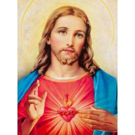 Serce Jezusa - Ikona dwustronna z Aktem poświęcenia format A4