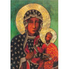 Matka Boża Częstochowska - Ikona dwustronna z modlitwą format A4 brokat