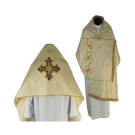 Welon liturgiczny krzyż brokat jasnozłoty