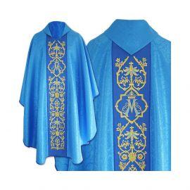 Ornat Maryjny gotycki, niebieski żakard