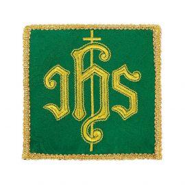 Palka haftowana, zielona IHS