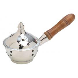 Kadzielniczka domowa z drewnianą rączką srebrna
