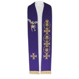 Stuła haftowana fioletowa Michał Archanioł