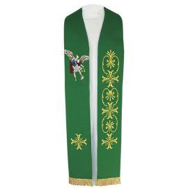 Stuła haftowana zielona Michał Archanioł