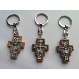 Brelok metalowy drewniany krzyż franciszkański