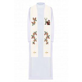 Stuła haftowana ecru Święty Hubert (3)