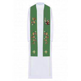 Stuła haftowana zielona Święty Hubert (4)