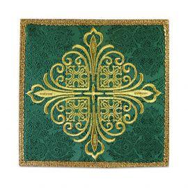 Palka haftowana zielona krzyż - tkanina żakard