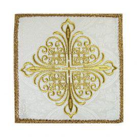 Palka haftowana biała krzyż - tkanina żakard