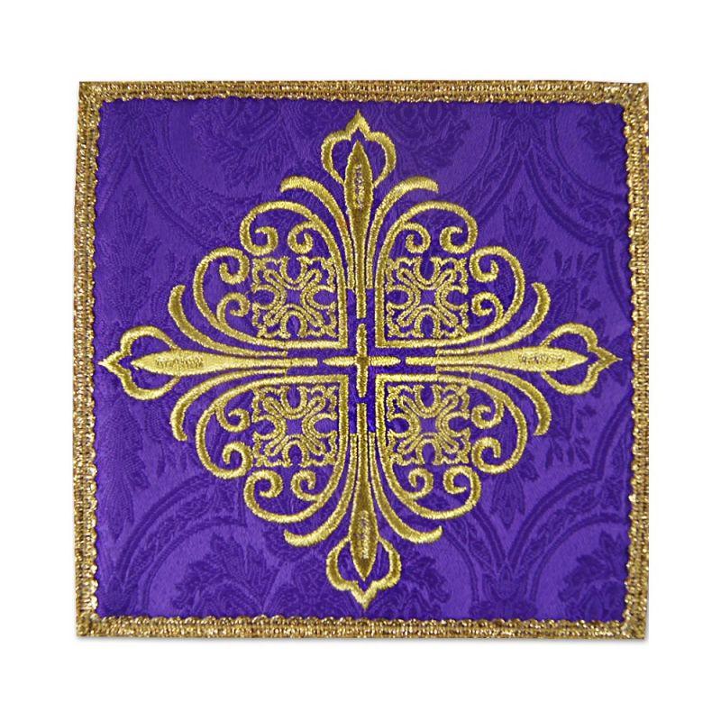 Palka haftowana fioletowa krzyż - tkanina żakard