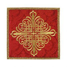 Palka haftowana czerwona krzyż - tkanina żakard