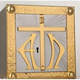 Tabernakulum mosiężne Krzyż, Alfa i Omega (44)